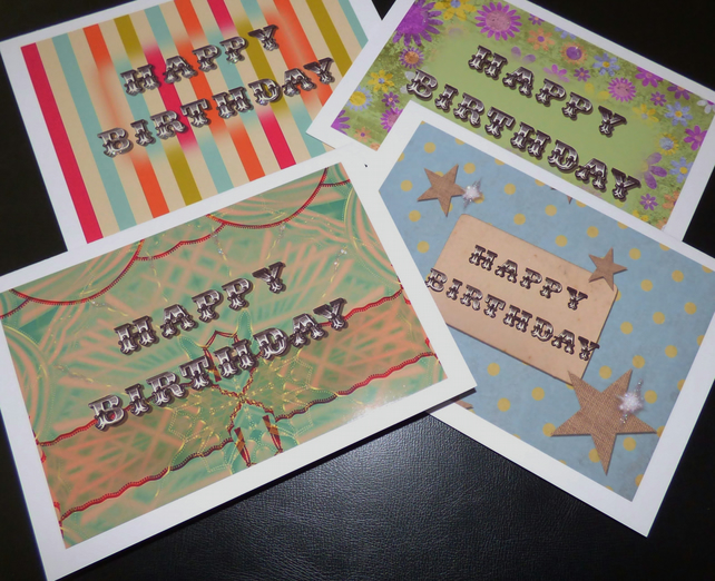 Set of 4 Birthday cards carousel circus font