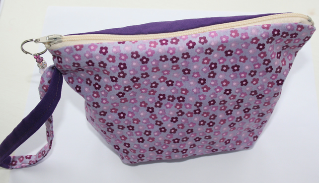 Purple floral make up bag
