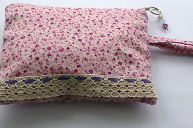 Pink floral lace make up or crochet project bag