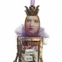 Purple and Gold I Love You Assemblage Doll
