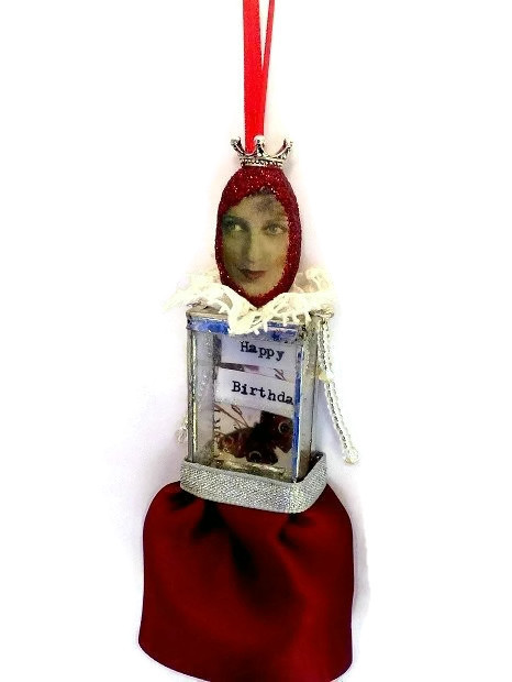 Red Happy Birthday Assemblage doll mixed media