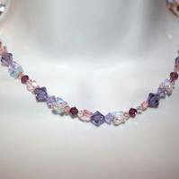 Purple colour Swarovski crystal element necklace with butterfly beads