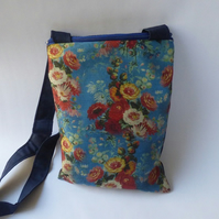 Blue and red floral across body bag