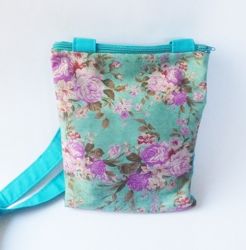 Turquoise and pink floral cross body small bag