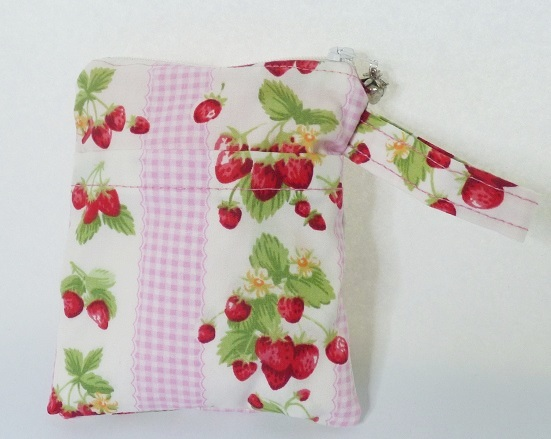 Strawberry print zipped make up bag