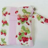 Small strawberry print zipped make up bag