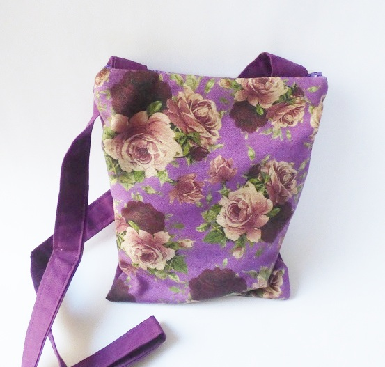 Purple rose floral cross body shoulder bag