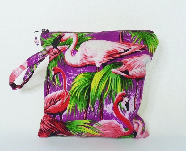 Small Flamingo zipped make up bag