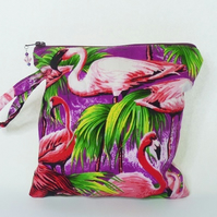 Flamingo zipped make up bag zipped pouch
