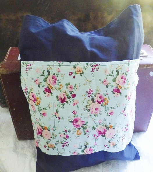 Blue and pink floral tote bag