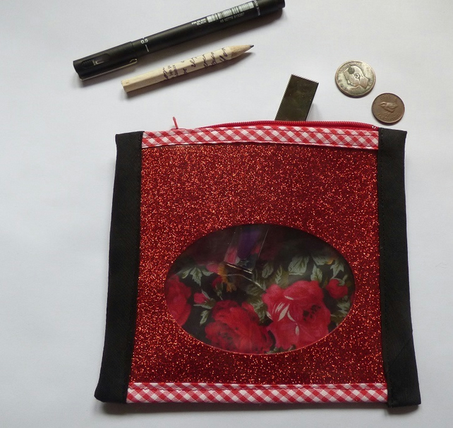 Red rose and glitter zipped pouch make up bag