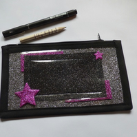 Black, silver and pink star pencil case