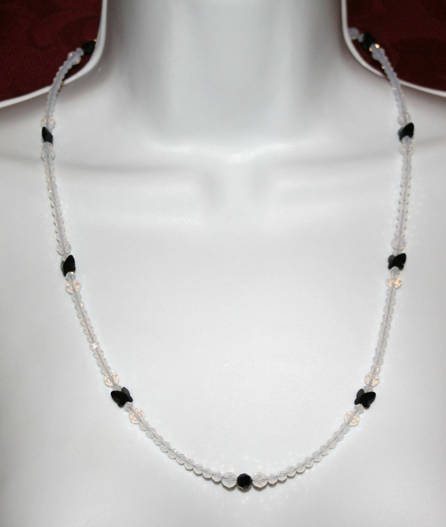 Black butterfly and white Swarovski crystal element necklace
