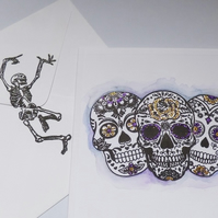 Candy Skull Halloween greeting card