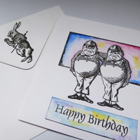 Tweedledum Tweedledee Tenniel birthday card