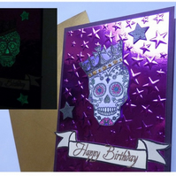 Glow in the dark Birthday candy skull card