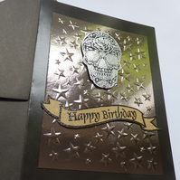 Silver tone candy skull birthday card