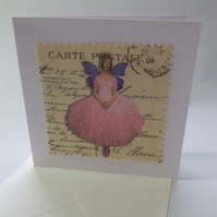 Fabric fairy birthday card