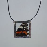 Long necklace pendant Real Red Admiral butterfly wing