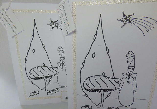 2 Blank Colouring in Christmas cards