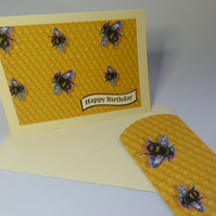 Bee themed Birthday card and pillow box combination