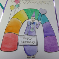 Clown & Rainbow Birthday card