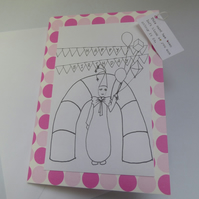 Colour me in Clown Birthday card
