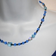 Blue butterfly Swarovski crystal element necklace and earrings