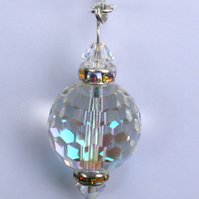 Round faceted  Swarovski crystal element pendant necklace