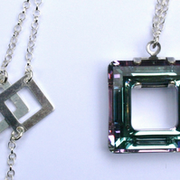 Retro square Swarovski crystal element pendant long necklace