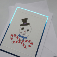 Snowman pirate skull and crossbones style greeting card