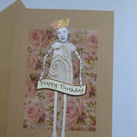 60s retro paper doll style birthday card