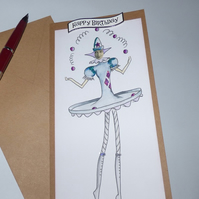 Birthday card The Juggler silver