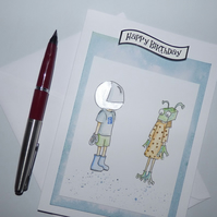 Spaceman and alien friends birthday card silver