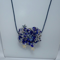 Blue and silver colour star bead necklace