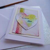 To a special Mum heart lace card