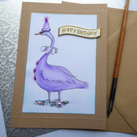 Pink swan Birthday card