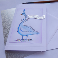 Blue Swan Birthday Card