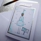 Moonshine bottle doll birthday card blue and silver