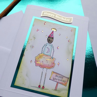 Moonshine doll card birthday card orange and gold