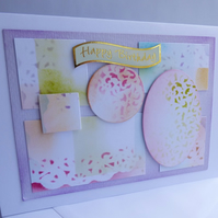Mosaic stencil birthday card