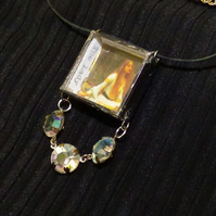 3D Art necklace pendant Necklace shadow box Lady of Shalott Waterhouse