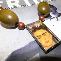 Shadow box necklace Frida Kahlo Self Portrait