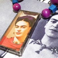 Frida Kahlo shadow box pendant necklace
