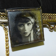 Clara Bow necklace It Girl 3D pendant shadow box necklace Hollywood cinema