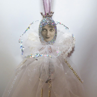 Rainbow glitter angel hanging decoration