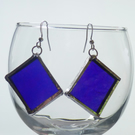 Purple rectangle earrings hook wire stained glass effect