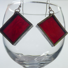 Red drop earrings stained glass one of a kind drop earrings