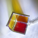 Necklace Red orange yellow  rainbow sunshine stained glass