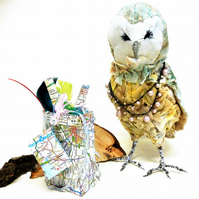 Textile Owl Sculpture, Fabric Art, Original Narrative, OOAK, Art Doll Animal,Map
